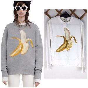 Acne Rare Banana White Sweater Sm Embroidered